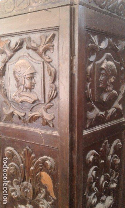 Antigüedades: Precioso y potente biombo-separador en madera tallada , 190 x 200 cm - Foto 2 - 173227794