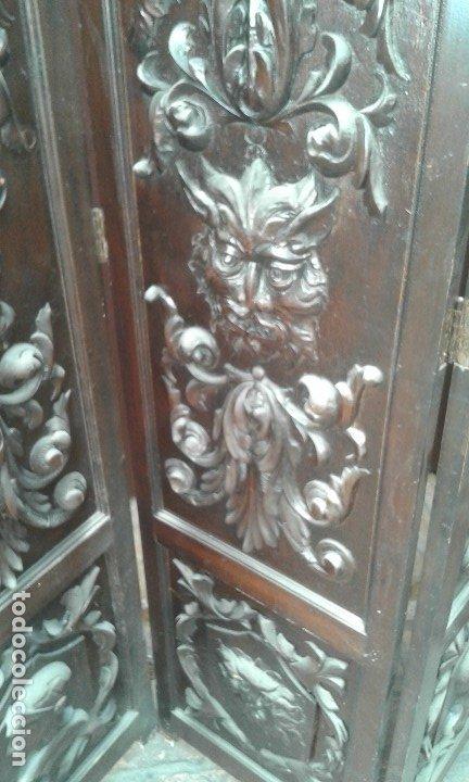 Antigüedades: Precioso y potente biombo-separador en madera tallada , 190 x 200 cm - Foto 3 - 173227794