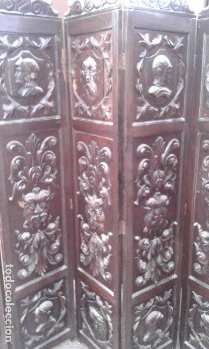 Antigüedades: Precioso y potente biombo-separador en madera tallada , 190 x 200 cm - Foto 5 - 173227794