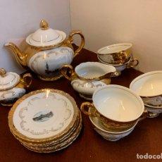 Antigüedades: ANTIGUO JUEGO DE TE, PORCELANA BABARIA, 6 SERVICIOS, TETERA, AZUCARERO, LECHERA, 6 PLATOS Y 6 TAZAS. Lote 173240218