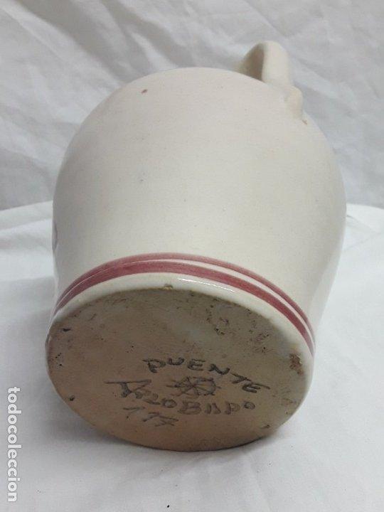 Antigüedades: Preciosa jarra vinagrera aceitera Cerámica Puente del Arzobispo hecha y pintada a mano 21cm - Foto 6 - 173409309