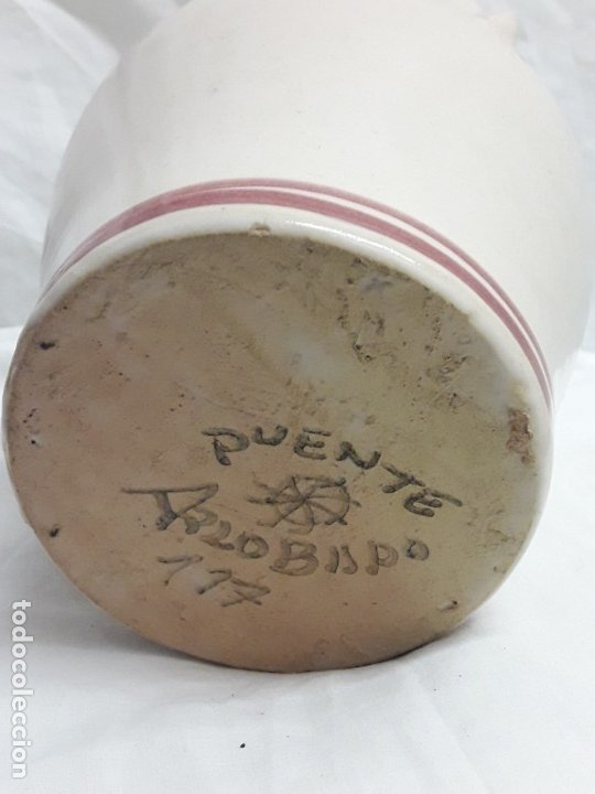 Antigüedades: Preciosa jarra vinagrera aceitera Cerámica Puente del Arzobispo hecha y pintada a mano 21cm - Foto 7 - 173409309
