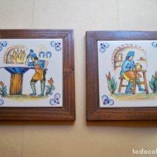 Antigüedades: CUADROS AZULEJOS OFICIOS MEDIEVALES MADERA . Lote 173451345