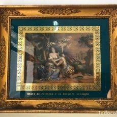 Antigüedades: FANTÁSTICO GRABADO DIANA DE POITIERS Y EL PRINCIPE HENRIQUE - MARCO ORO FINO 69X59 CM. Lote 173470407
