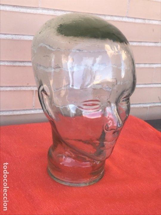 Antigüedades: Cabeza cristal auténtico maniquí años 30 ,original muy bonita burbujas del soplado , pesada calidad - Foto 2 - 173472973