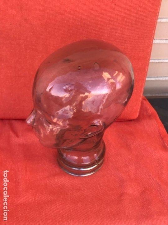 Antigüedades: Cabeza cristal auténtico maniquí años 30 ,original muy bonita burbujas del soplado , pesada calidad - Foto 4 - 173472973