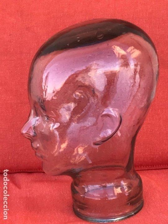 Antigüedades: Cabeza cristal auténtico maniquí años 30 ,original muy bonita burbujas del soplado , pesada calidad - Foto 6 - 173472973