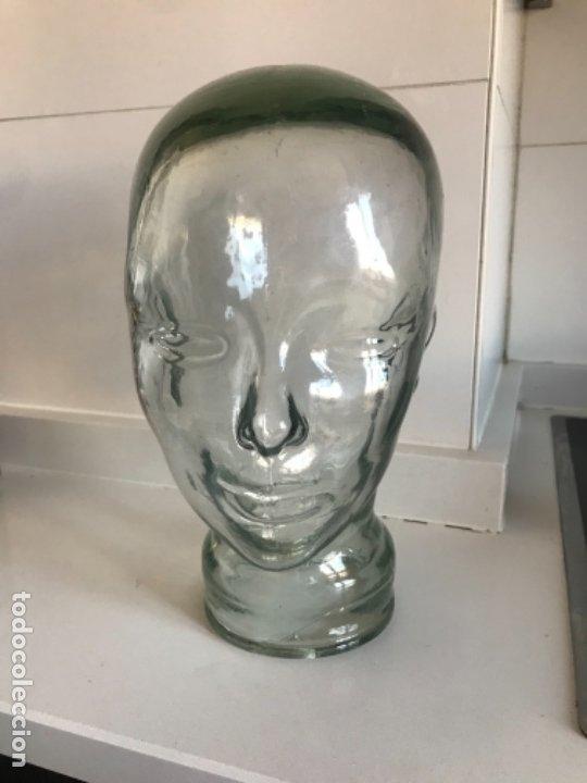 Antigüedades: Cabeza cristal auténtico maniquí años 30 ,original muy bonita burbujas del soplado , pesada calidad - Foto 25 - 173472973