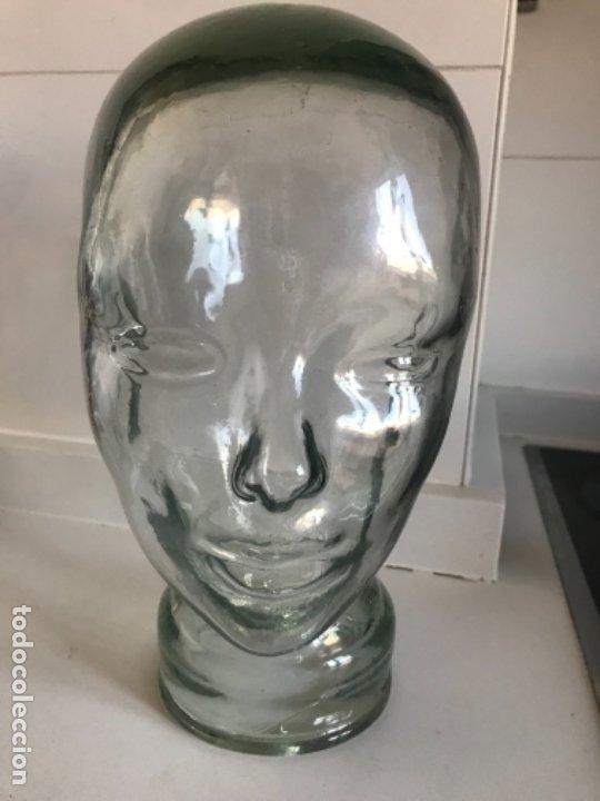 Antigüedades: Cabeza cristal auténtico maniquí años 30 ,original muy bonita burbujas del soplado , pesada calidad - Foto 26 - 173472973