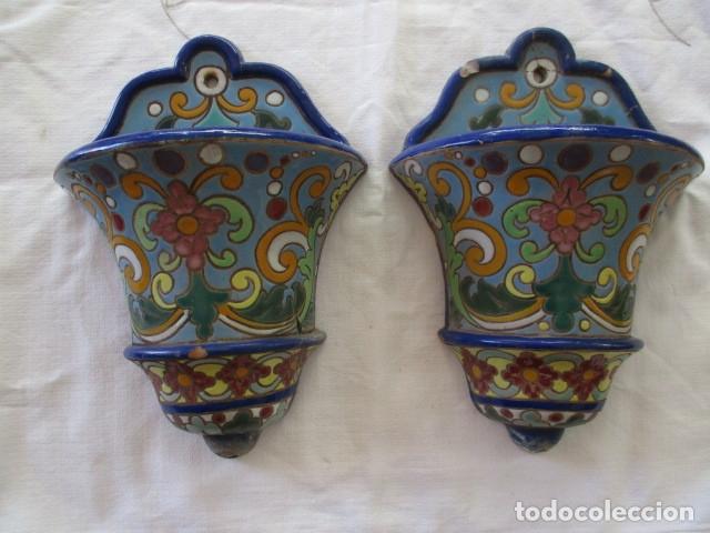 PAREJA DE MACETEROS CUERDA SECA (TRIANA) (Antigüedades - Porcelanas y Cerámicas - Triana)