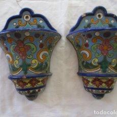 Antigüedades: PAREJA DE MACETEROS CUERDA SECA (TRIANA). Lote 173493685