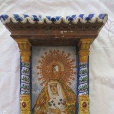 Antigüedades: RETABLO CERAMICO AZULEJOS ESPERANZA MACARENA. Lote 173494254