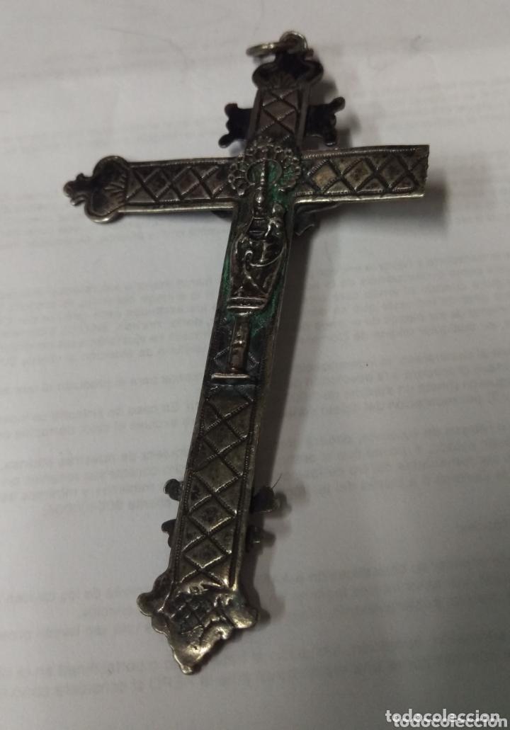 Antigüedades: Excepcional crucifijo colgante antiguo de plata del Siglo XVIII - Foto 5 - 173574842