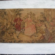 Antigüedades: TAPIZ ESCENA ROMÁNTICA ( 91,5 X 47 CM ) ORIGINAL FINALES S.XIX. Lote 173574918