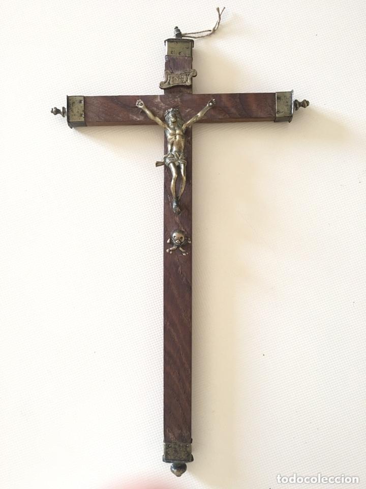 CRUCIFIJO ANTIGUO - CRISTO DE BRONCE - SIGLO XVIII (Antigüedades - Religiosas - Crucifijos Antiguos)