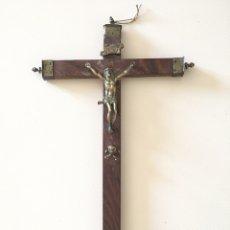 Antigüedades: CRUCIFIJO ANTIGUO - CRISTO DE BRONCE - SIGLO XVIII. Lote 173579062