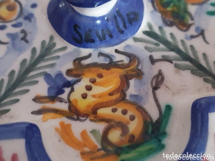 Antigüedades: PRECIOSO CENICERO CON FORMA DE FUENTE CERÁMICA DE TRIANA - Foto 5 - 173594460