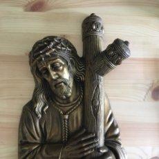 Antigüedades: CRISTO RELIEVE BRONCE. Lote 173626587