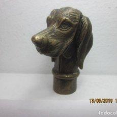 Antigüedades: EMPUÑADURA PARA BASTON CABEZA DE PERRO EN BRONCE FUNDIDO. Lote 173632522