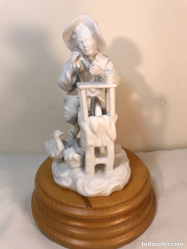 Antigüedades: Figura Porcelana Biscuit- Cebreros- Afilador- 19 cm - Foto 6 - 173653492