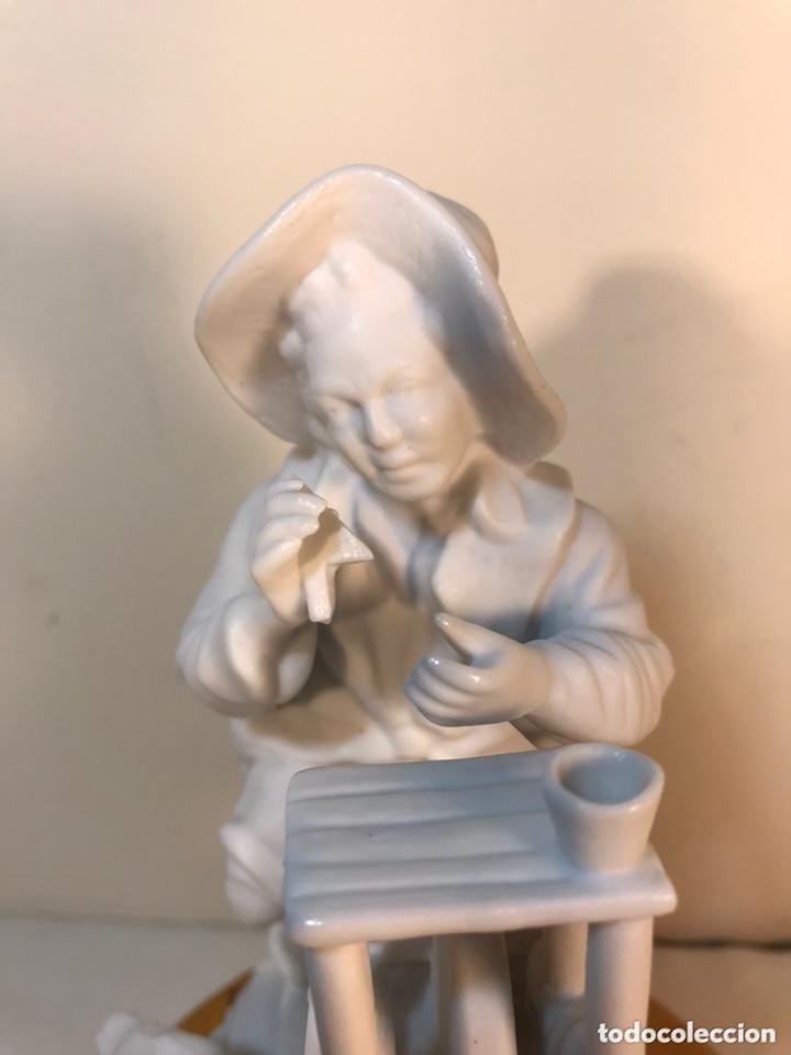 Antigüedades: Figura Porcelana Biscuit- Cebreros- Afilador- 19 cm - Foto 8 - 173653492