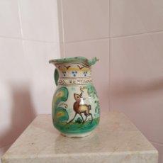 Antigüedades: BONITA Y ANTIGUA JARRA VIDRIADA Y PINTADA A MANO. Lote 160893889