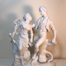 Antigüedades: FIGURA PORCELANA BISCUIT- CEBREROS- PAREJA 1- 26 CM.. Lote 173656395