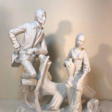 Antigüedades: FIGURA PORCELANA BISCUIT- CEBREROS- PAREJA 2- 26 CM.. Lote 173658783