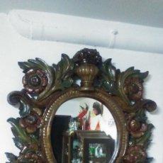 Antigüedades: ESPECTACULAR ESPEJO DE MADERA TALLADA ANTIGUO (S.XVIII). Lote 168862676