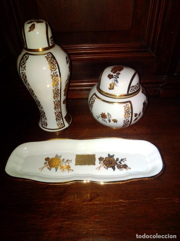 Antigüedades: Juego de tocador de porcelana Laurent's, oro 24K, decorado a mano. Nuevo, de antigua joyería. - Foto 2 - 173683450