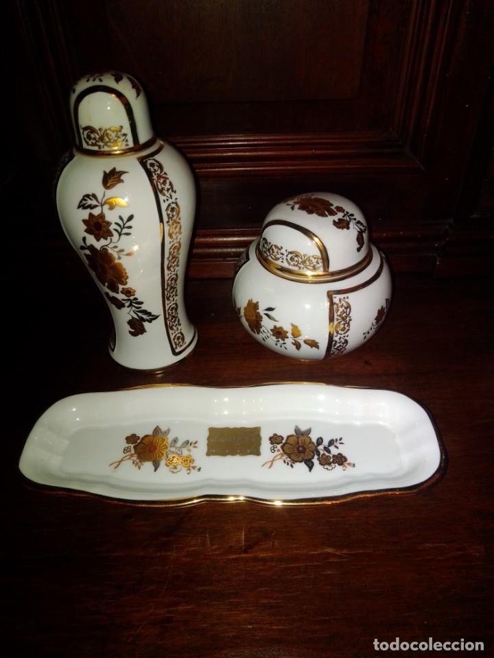 Antigüedades: Juego de tocador de porcelana Laurent's, oro 24K, decorado a mano. Nuevo, de antigua joyería. - Foto 3 - 173683450