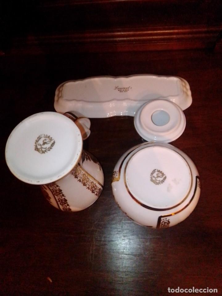 Antigüedades: Juego de tocador de porcelana Laurent's, oro 24K, decorado a mano. Nuevo, de antigua joyería. - Foto 6 - 173683450