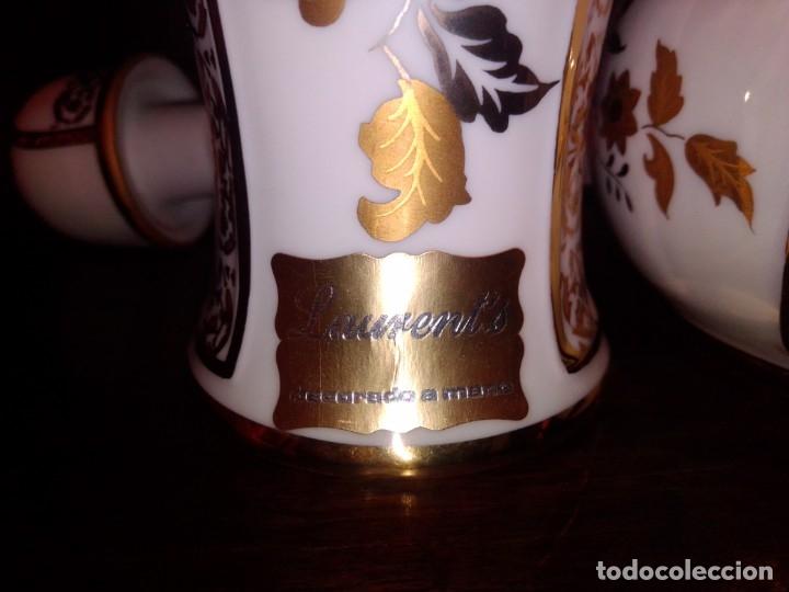 Antigüedades: Juego de tocador de porcelana Laurent's, oro 24K, decorado a mano. Nuevo, de antigua joyería. - Foto 9 - 173683450