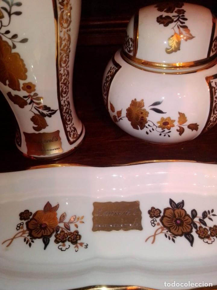Antigüedades: Juego de tocador de porcelana Laurent's, oro 24K, decorado a mano. Nuevo, de antigua joyería. - Foto 10 - 173683450