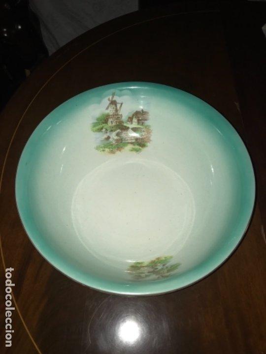 Antigüedades: Aguamanil o Palangana loza Pickman verde demo vidriada porcelana Sevilla Cartuja - Foto 4 - 173735784