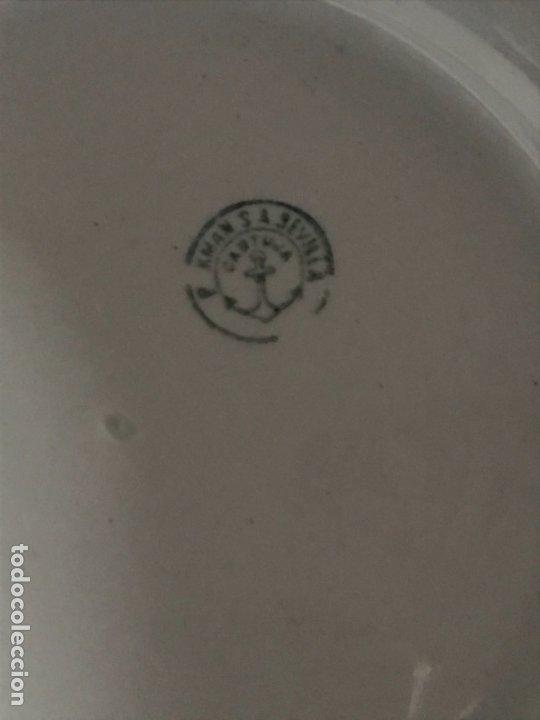 Antigüedades: Aguamanil o Palangana loza Pickman verde demo vidriada porcelana Sevilla Cartuja - Foto 8 - 173735784