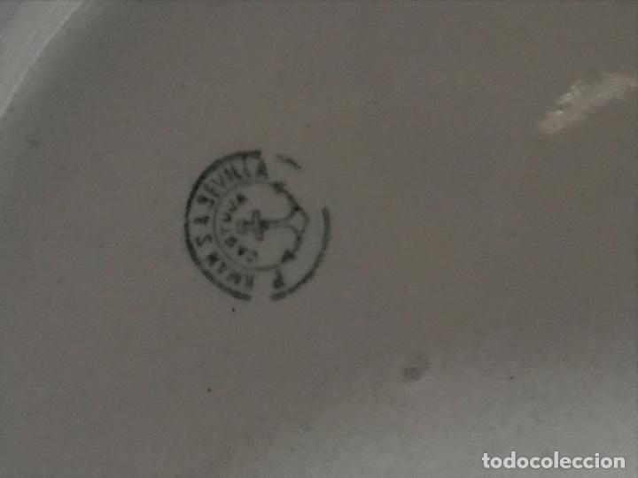 Antigüedades: Aguamanil o Palangana loza Pickman verde demo vidriada porcelana Sevilla Cartuja - Foto 10 - 173735784