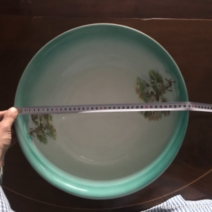 Antigüedades: Aguamanil o Palangana loza Pickman verde demo vidriada porcelana Sevilla Cartuja - Foto 14 - 173735784
