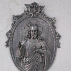 Antigüedades: ANTIGUA BENDITERA GRAN TAMAÑO, DE ESTAÑO Y CRISTAL. Lote 173777904