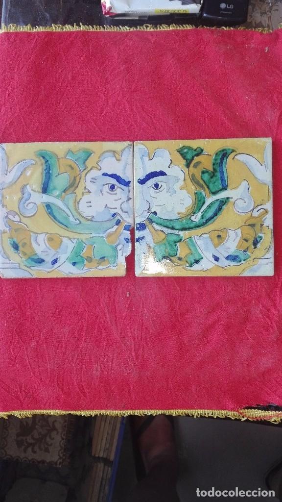 2 AZULEJOS ANTROPOMORFOS.JOSÉ LAFITTE ROMERO.AÑOS 20.TRIANA. (Antigüedades - Porcelanas y Cerámicas - Triana)
