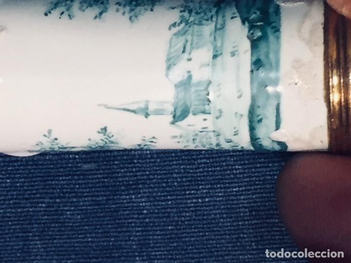 Antigüedades: ESTUCHE TUBO PORTA MENSAJES COBRE DORADO ESMALTE PAISAJE CASAS BATTERSEA BILSTON S XVIII 12X1,8CMS - Foto 18 - 173786770