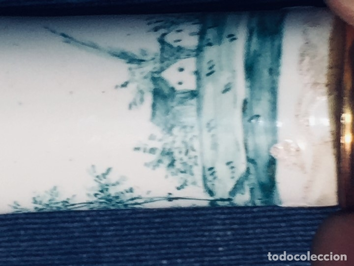 Antigüedades: ESTUCHE TUBO PORTA MENSAJES COBRE DORADO ESMALTE PAISAJE CASAS BATTERSEA BILSTON S XVIII 12X1,8CMS - Foto 22 - 173786770