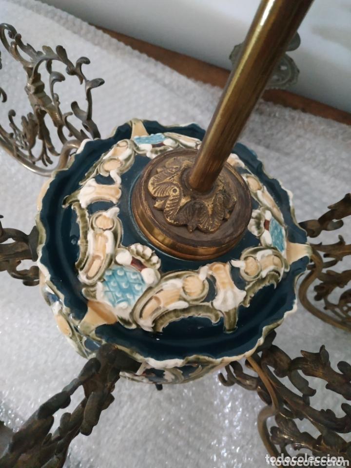 Antigüedades: Lampara de techo de bronce y cerámica - Foto 4 - 55377800