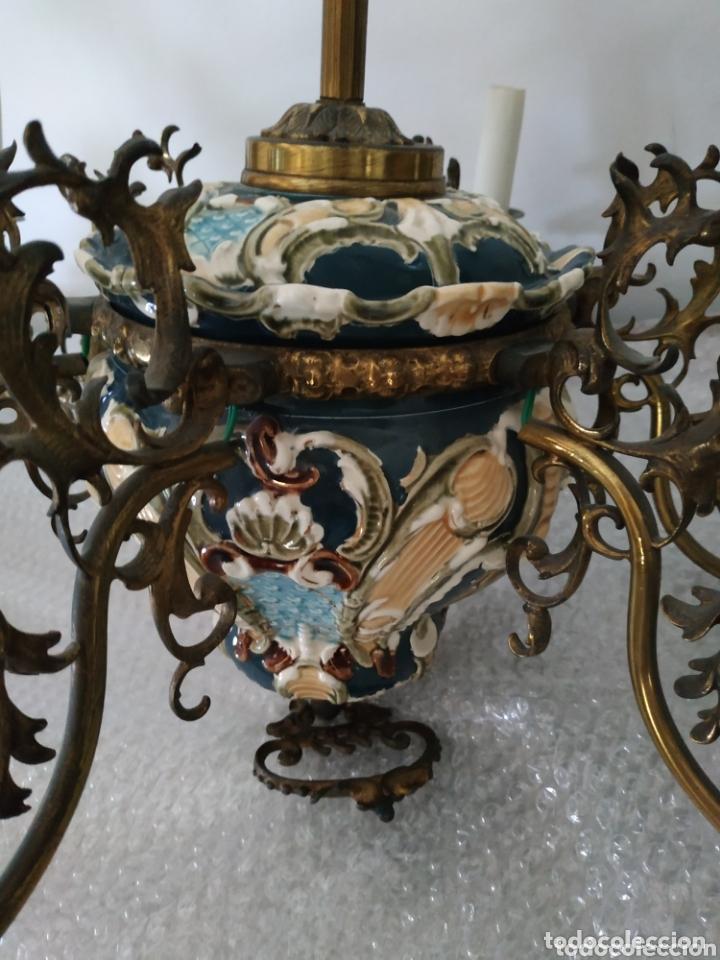 Antigüedades: Lampara de techo de bronce y cerámica - Foto 5 - 55377800