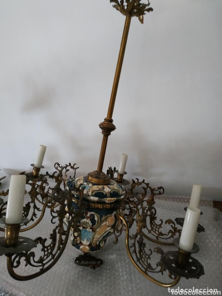Antigüedades: Lampara de techo de bronce y cerámica - Foto 6 - 55377800
