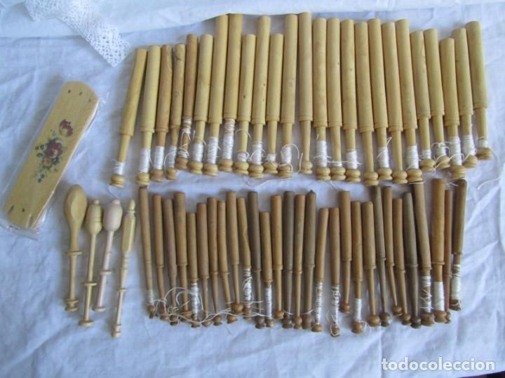 Antigüedades: Conjunto de bolillos de madera - Foto 2 - 173814407