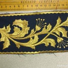Antigüedades: BORDADO RELIGIOSO DORADO ORO SOBRE AZUL - IDEAL SEMANA SANTA BANDA MUSICA AGRUPACION MUSICAL VIRGEN. Lote 173814972