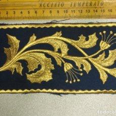 Antigüedades: BORDADO RELIGIOSO DORADO ORO SOBRE AZUL - IDEAL SEMANA SANTA BANDA MUSICA AGRUPACION MUSICAL VIRGEN. Lote 173814979