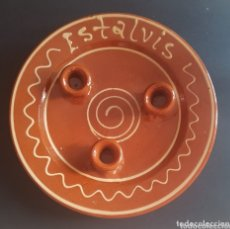 Antigüedades: CERAMICA POPULAR CATALANA VIDRIADA SALVAMANTEL ESTALVIS. Lote 173897828