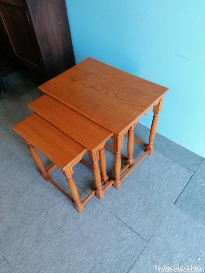 Antigüedades: Meas auxiliar de roble tres mesas - Foto 2 - 173917160